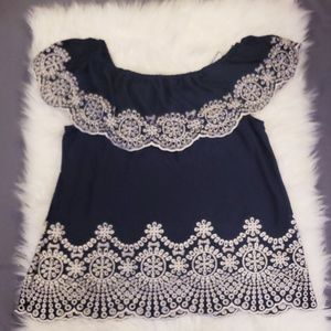 🆕️Fever Off Shoulder Blue & White Embroidered Top